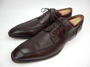Santoni Prichard Brown Apron Toe Derby Leather Dress Shoes Men's sz 12 D