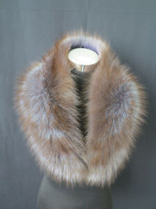 100% Real fox fur collar/neck wrap/brown unisex jacket collar/scarf 82*16 cm