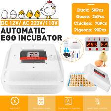 70Pcs Eggs Incubator Fully Automatic Egg Hatcher Machine Led Turner Chicken Duck