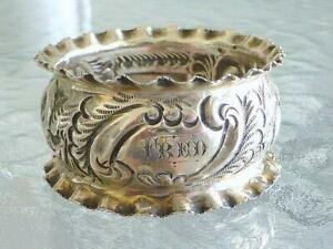 1903 FRED Repousse Robert Pringle Sterling Silver Flower NAPKIN Ring Victorian