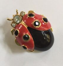 ST. JOHN COLLECTION Jewelry Gold Time Red & Black Ladybug  Pin - Brooch