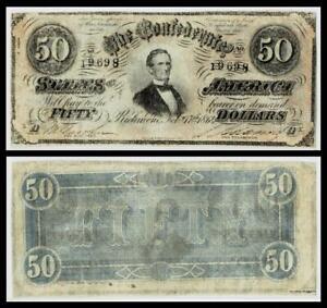 1864 $50 CONFEDERATE CIVIL WAR CURRENCY ~VERY FINE