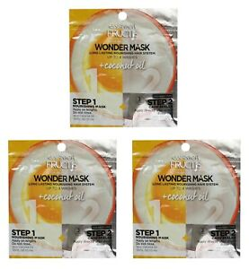 3x GARNIER FRUCTIS 15mL X2 WONDER MASK 2 STEPS NOURISHING MASK + CARE SEALER NEW