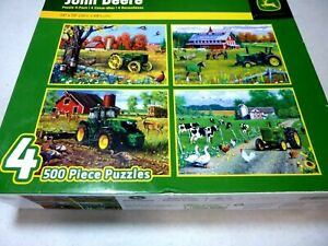 💕 John Deere Themed Puzzles Four 500 Piece Puzzles by Masterpiece Puzzle NEW