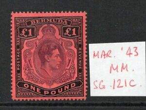 Bermuda George VI £1 SG121c March 43 Ptg. lightly hinged.