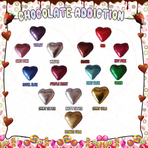 100 CHOCOLATE CADBURY MILK FOILED HEARTS - WEDDINGS, BIRTHDAYS, BONBONNIERE -