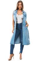 Women's Juniors Premium Denim Trucker Dress / Long Sleeveless Jacket
