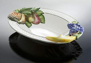 Bassano große wuchtige Obstschale Früchte Ananas italienische Keramik 48x36