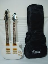 6/12 String Electric Double Neck Guitar, Set Neck with Padded Gig Bag, White