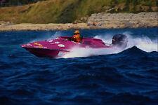 606098 Plum colored Racing Ski Boat A4 Photo Print