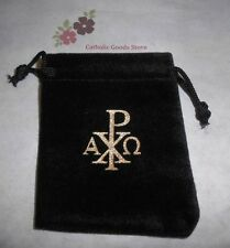 Chi Rho with Alpha & Omega (Black velvet)  Drawstring Rosary or Chaplet Case