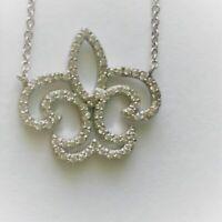 CrystaL CZ Sterling Silver Pendant necklace  Fleur De Lis