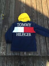 Vintage Tommy Hilfiger Jacket Small Rare Spell Out Big Flag Red Blue 90s Coat