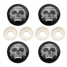 4 Black License Plate Frame Tag Screw Snap Cap Covers - CHROME SKULL BC079