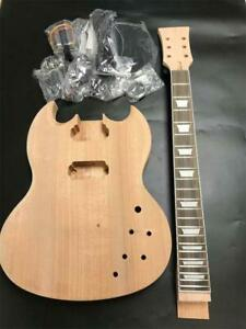 Naughty boy Dual-coil Pickups Unfinished DIY Mahogany Body Electric Guitar