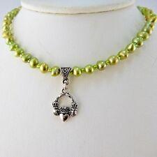 Irish Silver Claddagh green freshwater pearl necklace