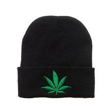 Black Rasta Marijuana Weed Leaf Beanie Cap Winter Warm Ski Skull Cap Hat Cuffed
