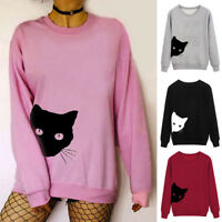 Womens Long Sleeve T Shirt Cat Print Sweatshirt Pullover Tops Blouse Basic Loose