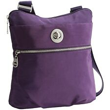 $88 baggallini Hanover Water-resistant Crossbody Bag Silver Hardware Grape NEW