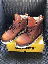 Bonanza Goodyear Welt Men's Contractor Work Boots - LT Brown - Size 10.5