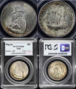 1920 50c Pilgrim Silver Commemorative Half Dollar PCGS MS 64