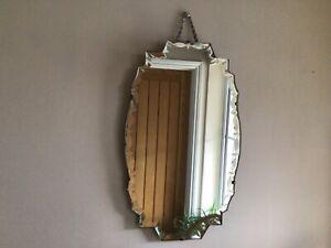 Vintage / Art Deco Bevelled Edge Frameless Mirror.  54 cm x 33cm