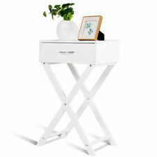 Nightstand X-Shape Drawer Accent side End Table Modern Home Furniture White