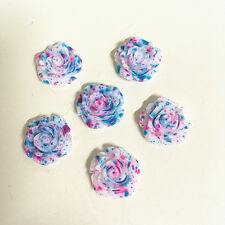 10pcs 14mm Blue+Rose Resin Roses Flatback Scrapbooking For Phone/craft #