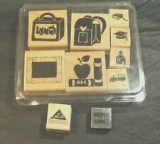 10 STAMPS WITH SCHOOL DESIGNS WOODEN RUBBER CRAFT STAMPS - MULTIPLE BRANDS