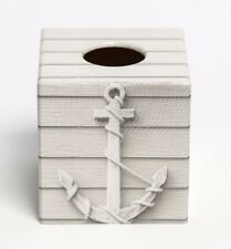 Anchor Tissue Box Cover Holder square wooden handmade decoupaged uk