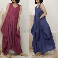 ZANZEA Women Sleeveless Baggy Cotton Maxi Dress Kaftan Summer Baggy Sundress