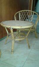 TABLE BASSE EN ROTIN ET BAMBOU DESIGN 1960-70 VINTAGE