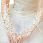 Women Lace Long White Wedding Party Bridal Gloves Fingerless Finger Rings Beads