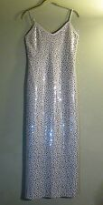 ST JOHN COUTURE Paillettes/Crystal Stones Silver Long Evening Dress 6