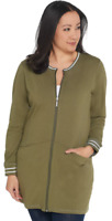 Denim & Co. Active Large Petite Tunic Jacket with Striped Rib Trim Deep Olive PL