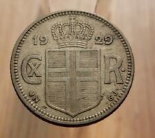 1929 Iceland 1 Króna World Coin--Scarce Date, Better Grade