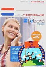 New! 4G Holland SIM CARD LEBARA Netherlands (regular, micro, nano) EU EUROPE