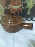 Stoneware ceramic crock Chili onion soup Handled with Vented Lid brown