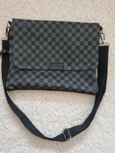 authentic louis vuitton men, black and grey check, shoulder bag