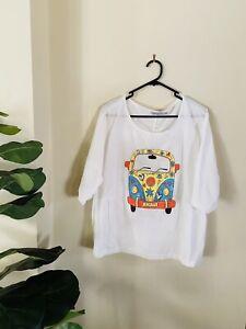 Mislook White Size XL Extra Large Cotton Retro Print Peace Shirt