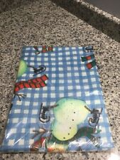 """Winter Iceskating Snowman Blue White Check Fabric Tablecloth. 60"""" X 102"""". New"""