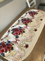 "Vintage 1950s Floral Basket Print Table Runner 19"" by 46"" Red White and Blue EUC"