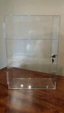 """Clear Plexiglass Lockable 3 Tiered Shelf Store Display Case- 22-1/4"""" Tall- Nice!"""