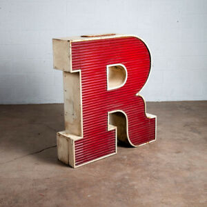 """Mid Century Modern Neon Sign Lamp Marquee Letter R Working Large 48"""" Light Wall"""