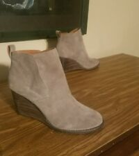 womens shoes lucky brand yameena wedge size 8.5 taupe 3 1/8 inch heel
