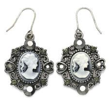Cute Antique Silver Tone Heart White Gray Cameo Dangle Earrings Fashion Jewelry