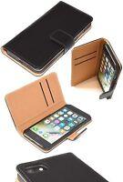 Apple iPhone 7 Saffiano Genuine Real Leather Book Case Black Folio Wallet