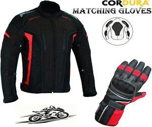 MENS RED / BLACK CE ARMOUR MOTORBIKE / MOTORCYCLE BLACK TEXTILE JACKET & GLOVES