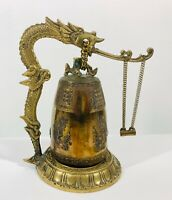 Vintage Large Table Top Oriental Brass Hanging Bell Gong with Dragon & Striker