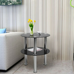 2 Tier Round Glass Table Shelf Side End Stylish Design New Coffee Table Black